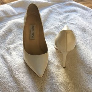 Jimmy Choo Cream Patent Leather Heels